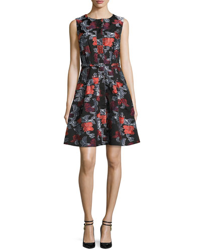 Sleeveless Floral Jacquard A-Line Dress, Navy