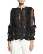 Lace-Trim Balloon-Sleeve Silk Shirt, Black