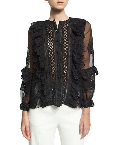 Lace-Trim Balloon-Sleeve Silk Shirt, Black