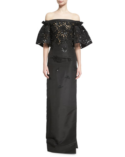 Embellished Cutout-Lace Off-the-Shoulder Gown, Black