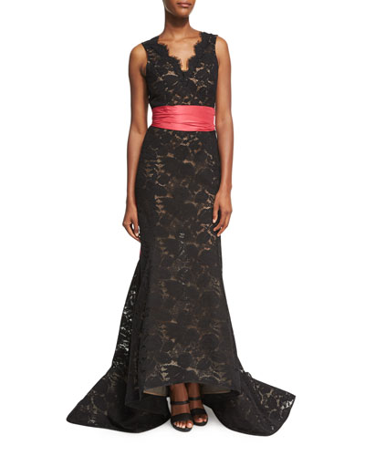 Sleeveless Lace Trumpet Gown with Sash, Black