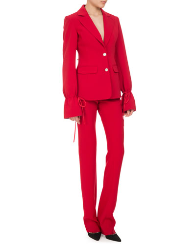 Bellardia Tie-Cuff Two-Button Jacket, Ruby