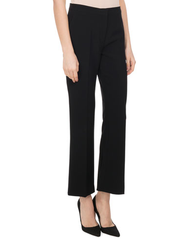 Nettle High-Rise Flare-Leg Pants, Black