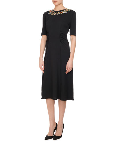 Sylvia Floral-Embroidered Half-Sleeve Midi Dress, Black