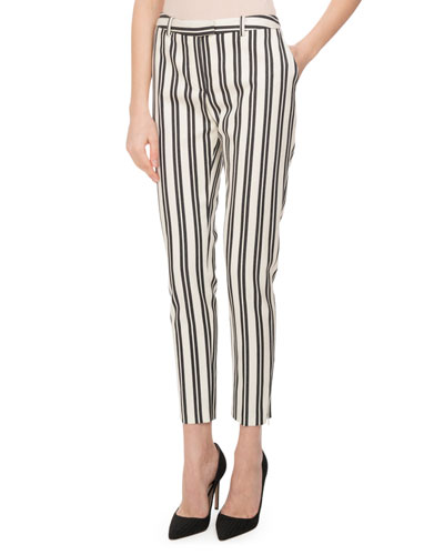 Henri Engineer-Striped Cigarette Pants, White/Black