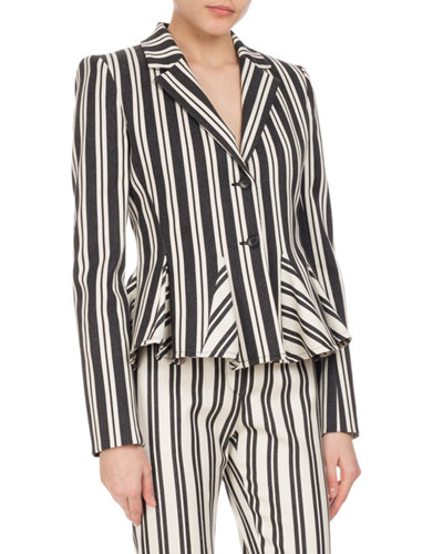 Clary Engineer-Striped Godet Jacket, Black/White