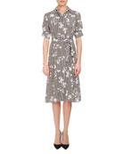Keiran Short-Sleeve Floral Striped Silk Shirtdress, Black/White