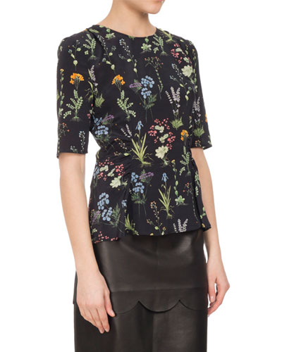Erinna Ruched Floral Silk Top, Black