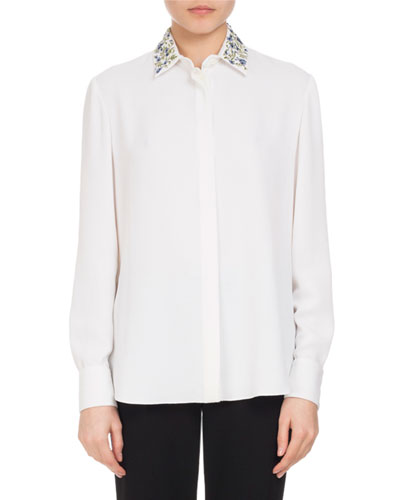 Chika Embroidered-Collar Blouse, White