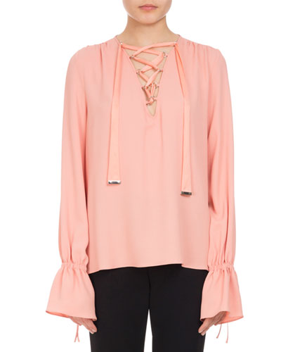 Capulet Lace-Up Ruffle-Cuff Top, Pink