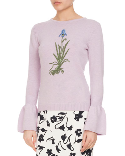 Bovary Embroidered Wool Bell-Sleeve Sweater, Lilac