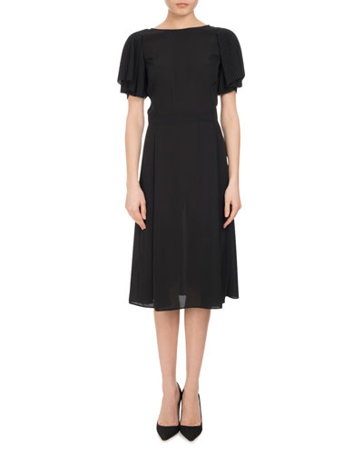 Emma Plissé-Sleeve A-Line Dress, Black