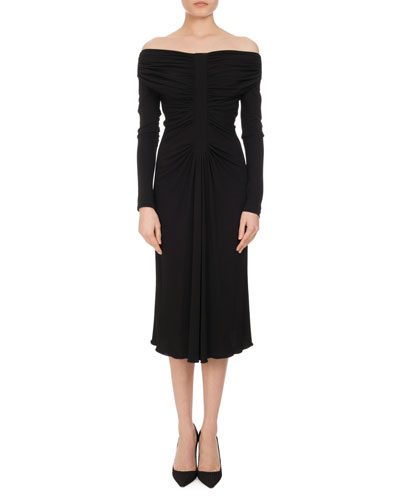 Imogene Ruched Off-the-Shoulder Dress, Black