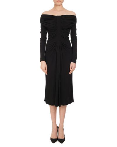 Imogene Ruched Off-the-Shoulder Dress, Black