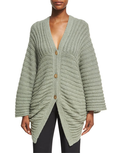 Chunky Ribbed Alpaca-Blend Cocoon Cardigan, Sage