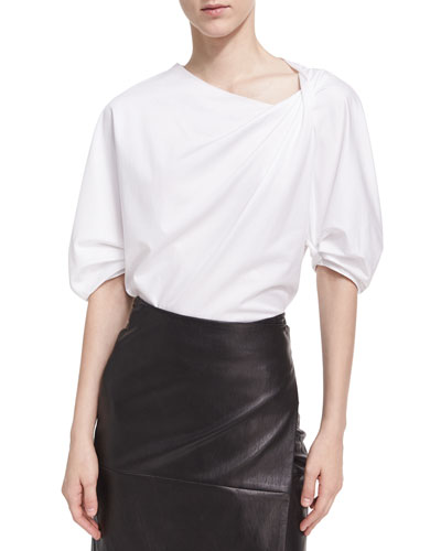 Balloon-Sleeve Gathered-Neck Blouse, White