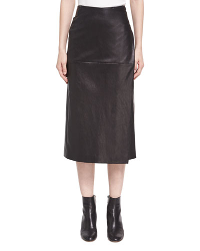 Lambskin Leather Midi Wrap Skirt, Black
