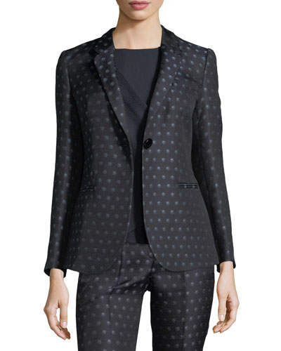Dot Jacquard One-Button Jacket
