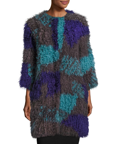Colorblock Mongolian Lamb Fur Caban Coat, Multicolor
