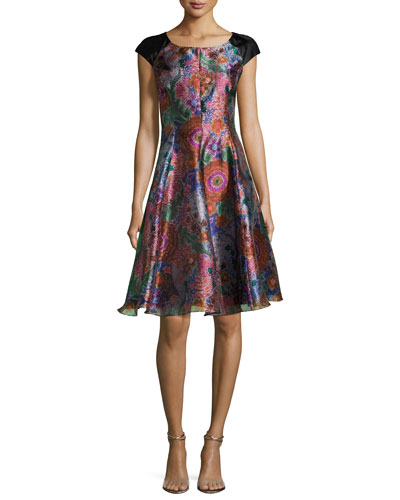 Floral Jacquard Cap-Sleeve Fit & Flare Dress, Multicolor