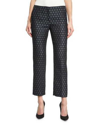 Dot Jacquard Slim Cropped Pants, Blue Pattern