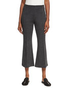 Mélange Wool Flare-Leg Pants, Charcoal