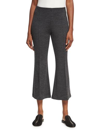 Mélange Wool Flare-Leg Pants, Charcoal