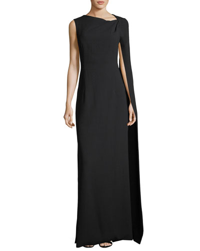 Cape-Sleeve Column Gown, Black