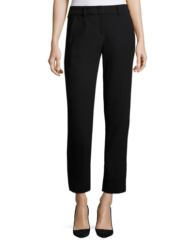 Textured Stretch Slim-Fit Pants, Dark Blue