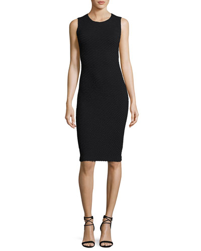 Diagonal Jacquard Sleeveless Sheath Dress, Black