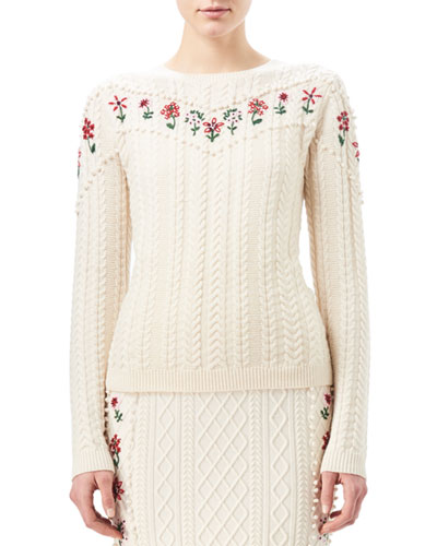Amalia Cable-Knit Sweater with Floral Embroidery, White