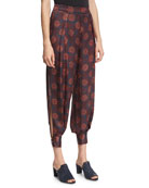 Alice Maritime-Print Silk Harem Pants, Purple