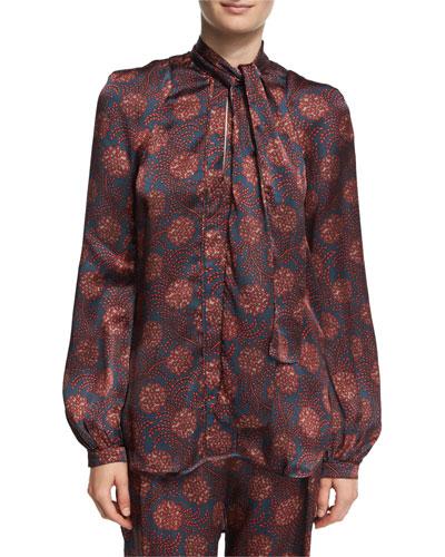 Diane Maritime-Print Silk Tie-Neck Shirt, Purple