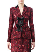 Angela Floral Jacquard Jacket with Satin Bows