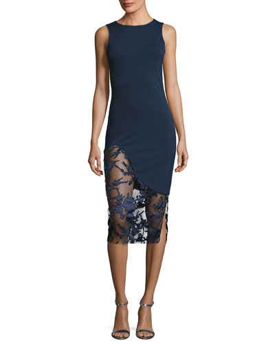 Natasha Lace-Inset Sleeveless Sheath Dress, Navy
