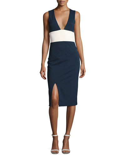 Lise Colorblock Sleeveless V-Neck Sheath Dress, Blue/White