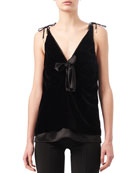 Gemme Velvet & Satin Tie-Shoulder Top, Black