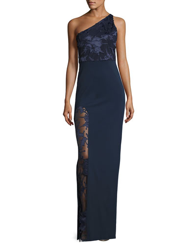 Petra One-Shoulder Lace-Trim Gown, Navy
