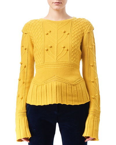 Katie Cable-Knit Peplum Sweater, Yellow