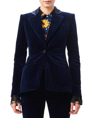 Acacia Velvet Satin-Collar Blazer, Blue
