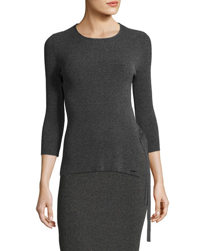 Tie-Side Ribbed 3/4-Sleeve Sweater, Gray