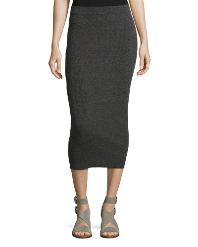 Ribbed Midi Tube Skirt, Gray
