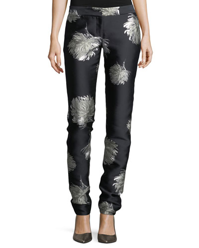 Classic Floral-Embroidered Straight-Leg Pants