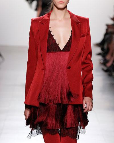 Tiered Fringe Minidress with Lace Bodice, Garnet