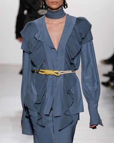 Silk Tie-Neck Blouse with Pliss&#233 Ruffle Trim, Sky Blue