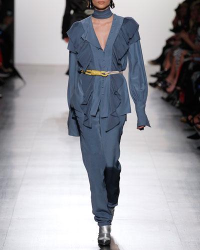 Classic Silk Straight-Leg Trousers, Sky Blue