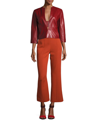 Plongé Leather Split-Neck Top, Red