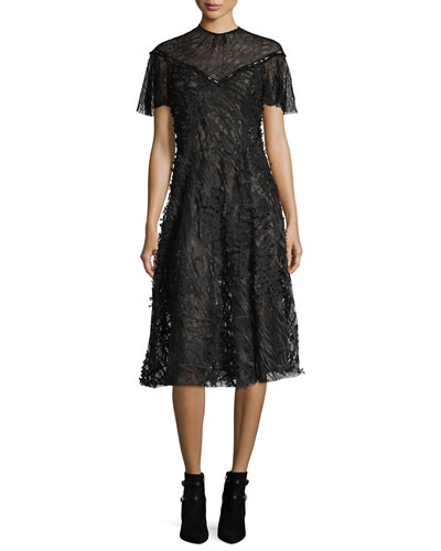 Wing-Sleeve Floral Lace Midi Dress, Black