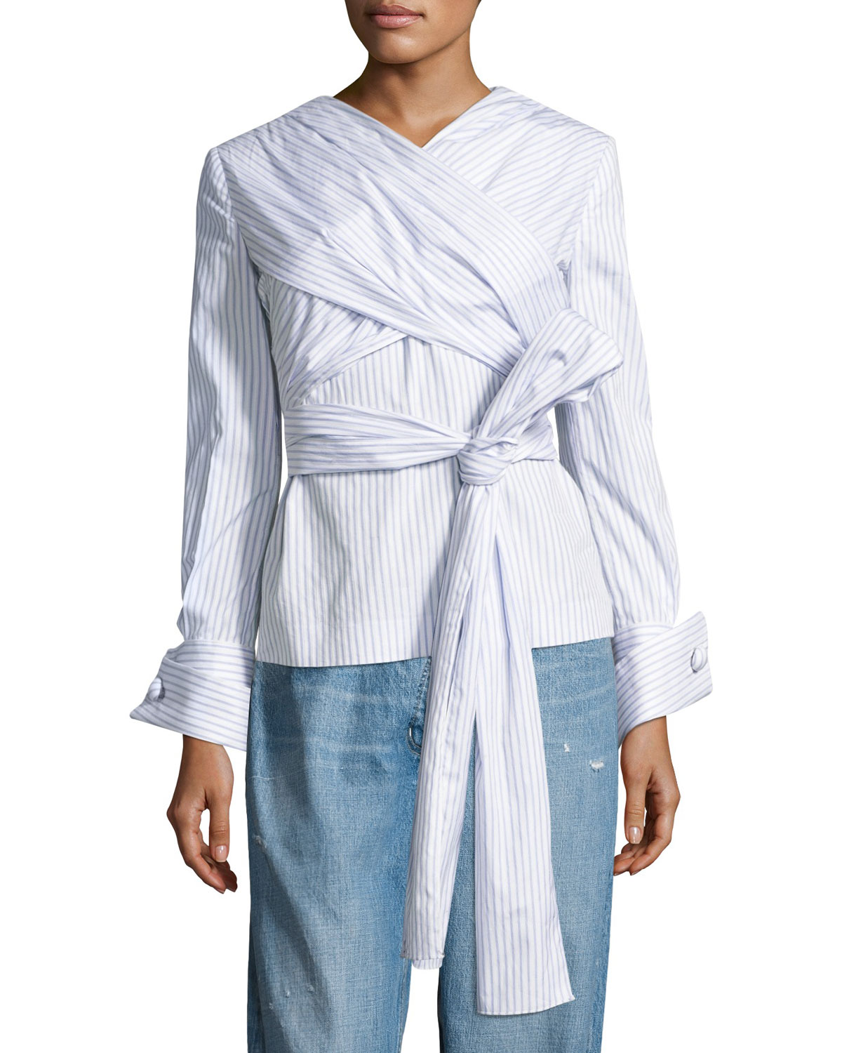Pinstriped Wrap-Front Blouse, White/Blue