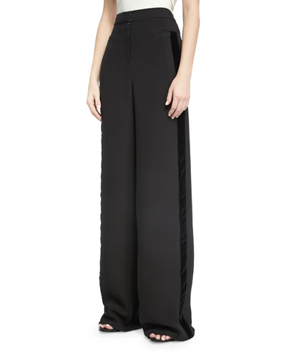 Wide-Leg Velvet-Trim Tuxedo Pants, Black